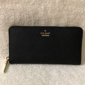Kate Spade black continental zip around wallet